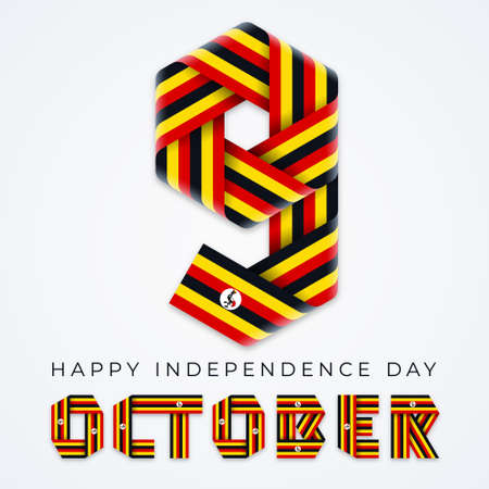 Congratulatory design for October 9, Independence Day of Uganda. Text made of bended ribbons with ugandan flag colors. Vector illustration. Ilustração
