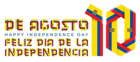 Congratulatory design for August 10, Ecuador Independence Day. Text made of folded ribbons with Ecuadorian flag colors. Spanish inscription: August 10, Happy Independence day. 3d illustration isolated on white background.