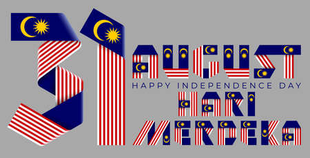 August 31, Malaysia Independence Day congratulatory design. Text made of bended ribbons with Malaysian flag elements.Malaysian title: Independence day. 3d illustration isolated on gray background.