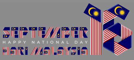 September 16, Malaysia National Day congratulatory design. Text made of bended ribbons with Malaysian flag elements. Malaysian title: Malaysia day. 3d illustration isolated on gray background. Stock Photo