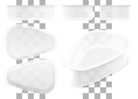Vector drop shape transparent plastic container for cottage cheese, jelly, sour cream or yoghurt. Set of top, bottom, front, side and perspective views. Packaging mockup illustration.