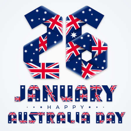 Congratulatory design for January 26, Australia Day national holiday. Text made of bended ribbons with Australian flag elements. Vector illustration. Ilustração