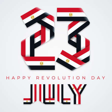 Congratulatory design for July 23, Revolution day of Egypt. Text made of bended ribbons with egyptian flag elements.