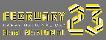 February 23, Brunei National Day congratulatory design. Text made of bended ribbons with Brunei flag colors. Malay title: National day. 3d illustration isolated on gray background.