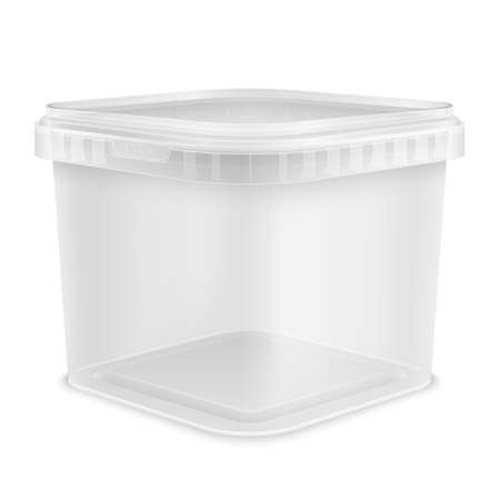Transparent square empty plastic bucket for storage of foodstuff, butter or paint. Front view from the corner. 3d packaging template illustration isolated on white background.