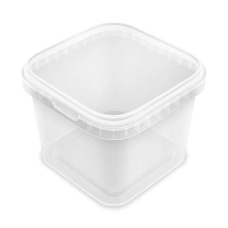 Transparent square empty plastic bucket for storage of foodstuff or paint. Top view from the corner. 3d packaging template illustration isolated on white background.