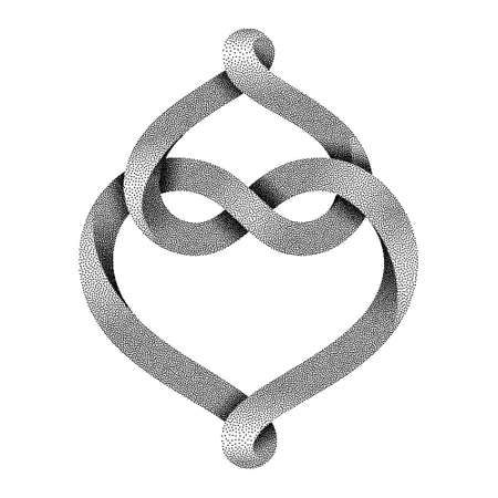 Two hearts intertwine forming an infinity sign made of stippled mobius stripe. Symbol of eternal love. Vector illustration isolated on a white background.