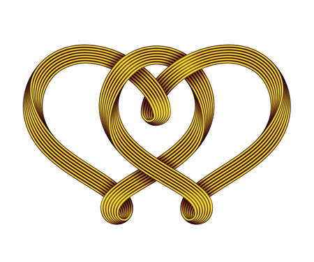 The sign of the union of two hearts made of interwoven golden wire bundles. Symbol of eternal love. Vector illustration isolated on a white background.