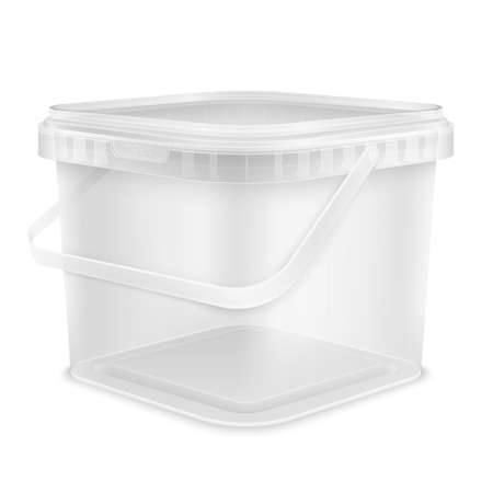 Transparent square empty plastic bucket with handle for storage of foodstuff, butter, paint or plaster. Front view from the corner. Packaging 3d isolated mockup illustration. 免版税图像