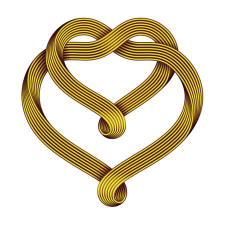 The sign of the union of two hearts made of intertwined golden wire bundles. Symbol of infinite love. Vector illustration isolated on a white background.