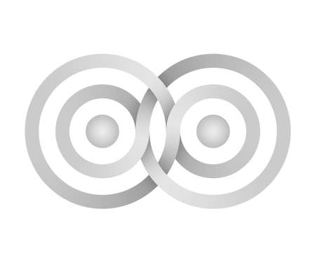 Infinity sign made of of intertwined rings. Stylized Interference concentric waves. 3d illustration isolated on white background. 免版税图像