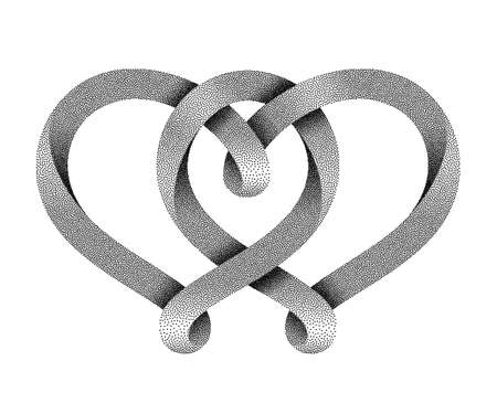 The sign of the union of two hearts made of stippled mobius stripe. Symbol of eternal love. Vector illustration isolated on a white background.