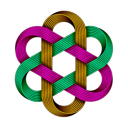 Hexagonal chinese knot made of crossed colored wires. Ancient traditional symbol. 3d illustration isolated on white background.