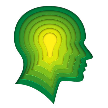 Lightbulb within human profile shape. Deep paper layered cutout art. 3d illustration of creative thinking, concept of innovation idea for cards, posters, flyers, stickers.
