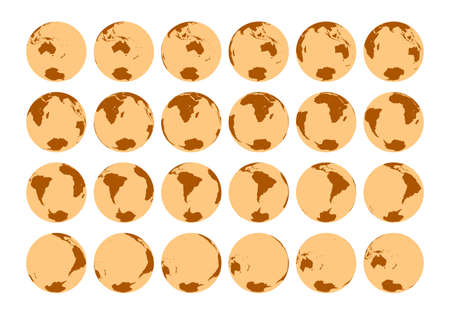 Vector set of 24 globes showing detailed isometric view of the rotation of the Earth in one hour. Rotation 15 degrees. South Pole view.