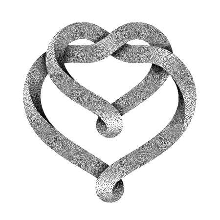 The sign of the union of two hearts made of intertwined stippled mobius stripe. Symbol of infinite love. Vector illustration isolated on a white background.
