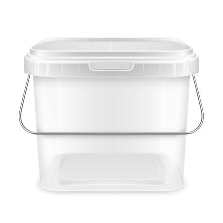 Transparent square empty plastic bucket with lowered metallic handle for storage of foodstuff, paint or plaster. Front view. Packaging isolated mockup 3d illustration.