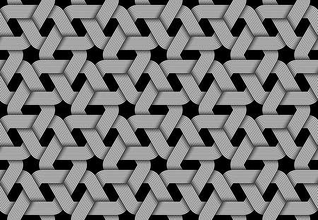 Vector seamless decorative pattern of woven hexagonal shaped metallic wires. Repeating geometric illustration.