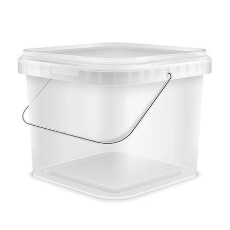 Transparent square empty plastic bucket with lowered metallic handle for storage of foodstuff, paint or plaster. Front view from the corner. Packaging isolated template 3d illustration.