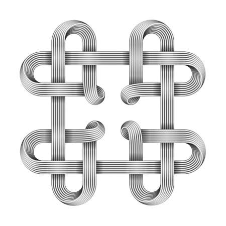 Symbol of four hearts made with metallic wires intertwined as celtic knot. 3d illustration isolated on white background. 免版税图像
