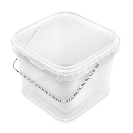 Transparent square empty plastic bucket with lowered metallic handle for storage of foodstuff, paint or plaster. Top view from the corner. Packaging isolated mockup illustration. 免版税图像