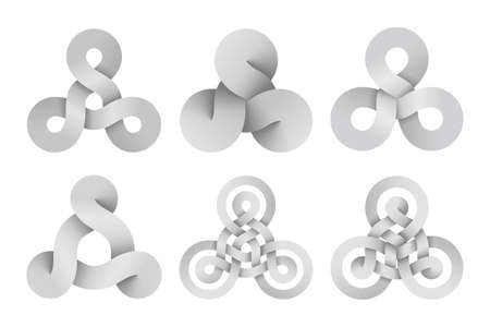 Set of triquetra knot signs made of three connected disks and rings made of different types intersection. Modern stylization of celtic trinity symbols. Vector illustration isolated on a white background. Illusztráció