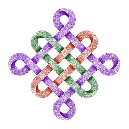 Chinese endless auspicious knot made of crossed stippled tapes. Ancient traditional Buddhist symbol. Textured 3d illustration isolated on white background. 免版税图像
