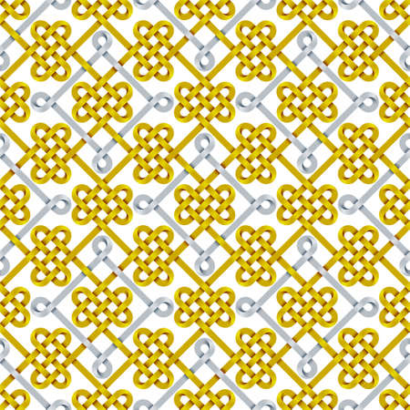 Seamless pattern of stripes weaved like celtic knots. Repeating 3d ornament illustration. Stock Photo