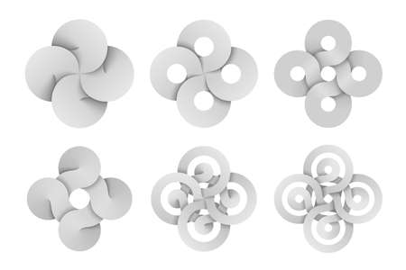 Set of cross signs made of four connected disks and rings made of different types intersection. Modern stylization of Bowen knot symbol. Vector illustration isolated on a white background. Illusztráció