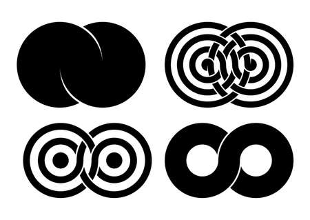 Set of Infinity signs made of combined disks and rings. Stylized tattoo design symbols of interference concentric waves. Vector illustration isolated on white background.