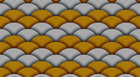Japanese seamless wave pattern. Traditional Chinese decoration. Oriental background made with round golden and silver plates.