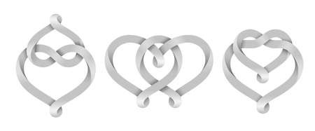 Set of signs of the union of two hearts made of intertwined mobius stripes. Symbols of eternal love. Vector illustration isolated on a white background. 矢量图像