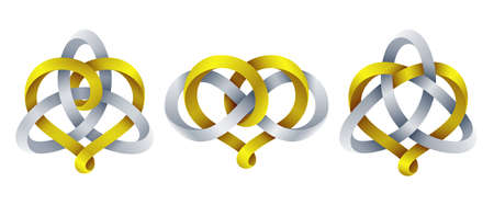 Set of heart signs with triquetra knot and infinity symbol made of intertwined mobius stripes. Symbols of harmonic eternal love. Vector illustration isolated on a white background. Illusztráció