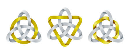 Set of triquetra knots with circle, triangle and hexagon shapes made of intertwined mobius stripes. Celtic trinity symbols. Vector illustration isolated on a white background.