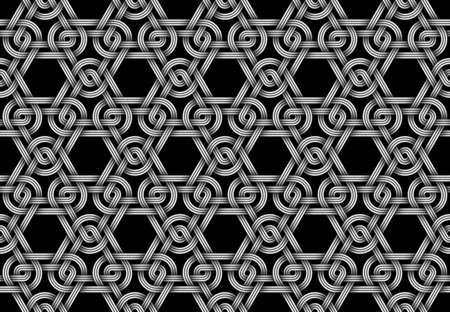 Vector seamless decorative pattern of weaved triangular shaped double bundles of wires. Repeating geometric illustration.