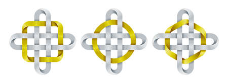 Set of celtic crosses with circle, square and hexagon shapes made of intertwined mobius stripes. Ancient spiritual symbols. Vector illustration isolated on a white background.