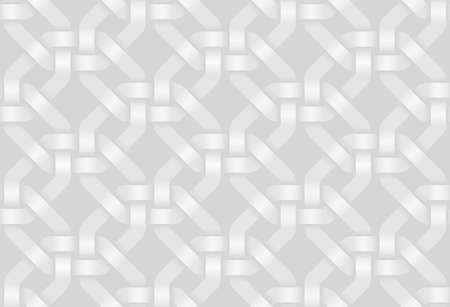 Vector seamless decorative pattern of woven octagonal shaped bands. White repeating geometric background illustration. Illusztráció