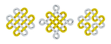 Set of celtic, chinese auspicious knots and quadruple solomon knot made of intertwined mobius stripes. Ancient traditional symbols. Vector illustration isolated on white background.