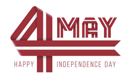 Congratulatory design for May 4, Latvia Independence Day. Text made of bended ribbons with Latvian flag colors. 3d illustration isolated on white background.