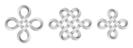 Set of signs made with ribbons intertwined as endless knot and bowen cross. Ancient traditional symbols. Vector illustration isolated on a white background. Illusztráció