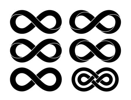 Set of Infinity signs made of different types of torsion and intersection. Stylized tattoo design with mobius strip symbols. Vector illustration isolated on white background.