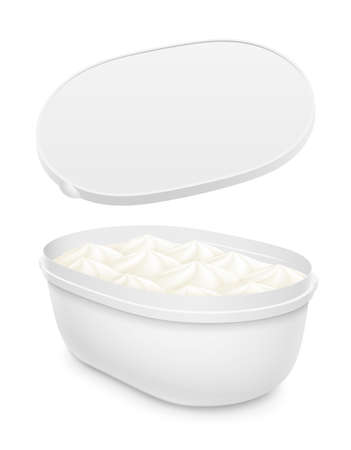 Plastic open oval container with ice cream, yogurt or pudding within. Mockup isolated on white background. Packaging template illustration.