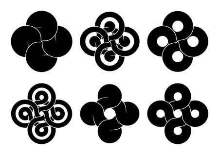 Set of cross signs made of four connected disks and rings made of different types intersection. Stylized tattoo design of Bowen knot symbol. Vector illustration isolated on a white background.