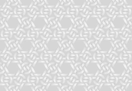 Vector seamless decorative pattern of woven triangular shaped double bands. White repeating geometric background illustration. Illusztráció