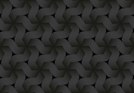 Black seamless decorative pattern of hexagonal combined curve bands. Vector dark texture repeating geometric background illustration.