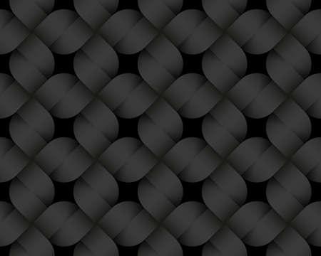 Black seamless decorative pattern of quadratic woven bands. Vector dark texture repeating geometric background illustration.