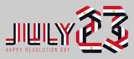 Congratulatory design for July 23, Revolution day of Egypt. Text made of bended ribbons with egyptian flag elements. 3d illustration isolated on gray background.