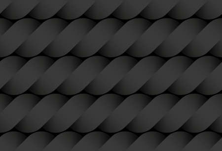 Black seamless decorative pattern of  bands twisted in the form of a rope. Vector dark texture repeating geometric background illustration.