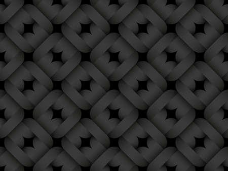 Black seamless decorative pattern of square intertwined shapes. Vector dark texture repeating geometric background illustration. Illusztráció