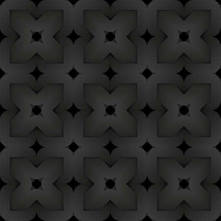 Black seamless decorative pattern of woven square shapes. Vector dark texture repeating geometric background illustration.